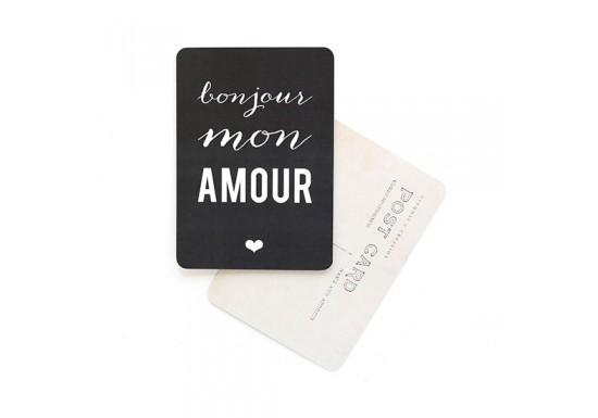 Carte postale Bonjour mon amour - ardoise