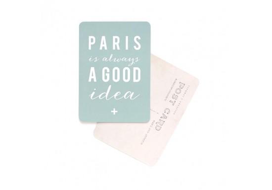 Carte postale Paris is always a good idea - vert menthe