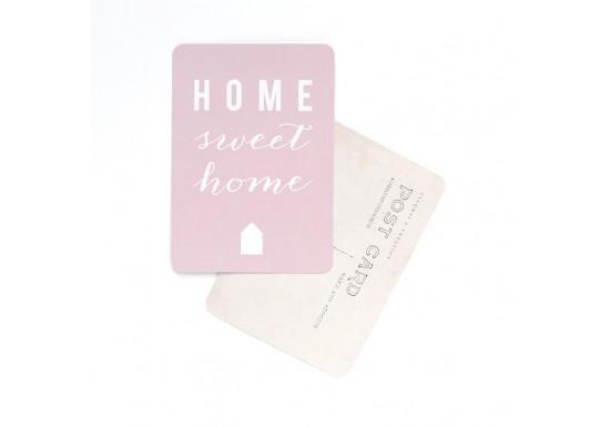 Carte postale Home sweet home - rose