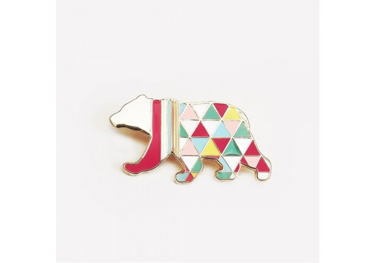 Broche email ours Arlequin neon