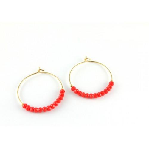 Boucles d'oreilles India rouge