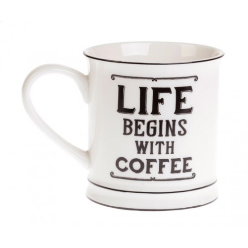 "Mug ""Life begins with coffee"""