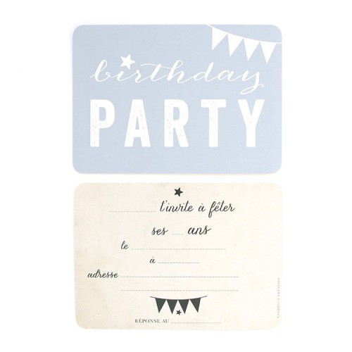 Carte d'invitation Birthday Party - gris