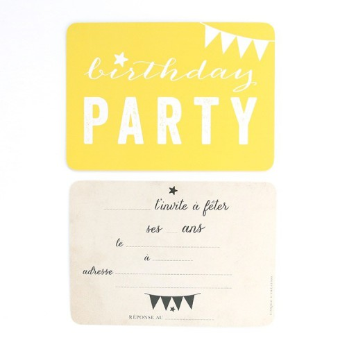 Carte d'invitation Birthday Party - jaune