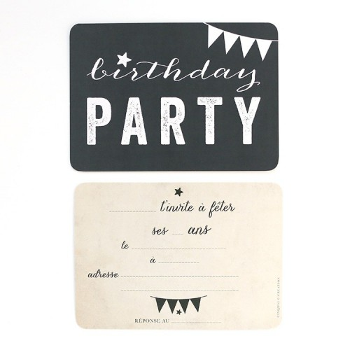 Carte d'invitation Birthday Party - ardoise