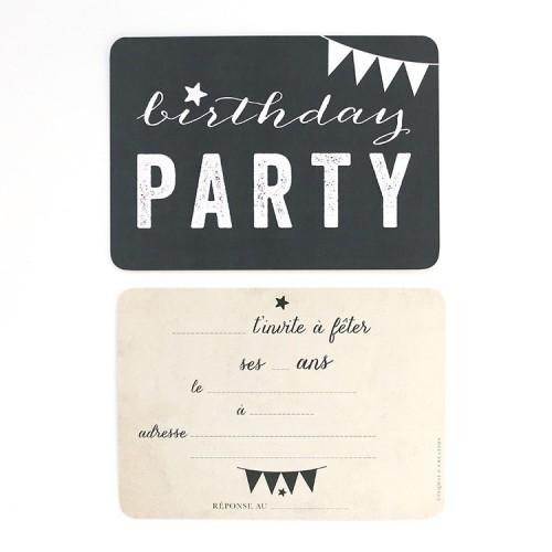 Carte d'invitation Birthday Party - ardoise
