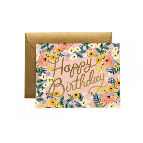 Carte postale Happy birthday rose
