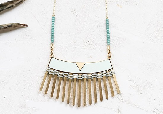 Collier Woven long mint/turquoise