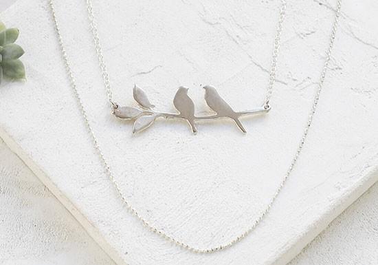 Collier lovebirds argenté