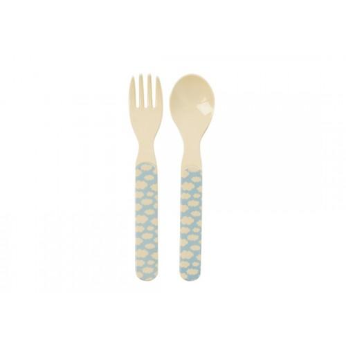 Set cuillère et fourchette nuage bleu