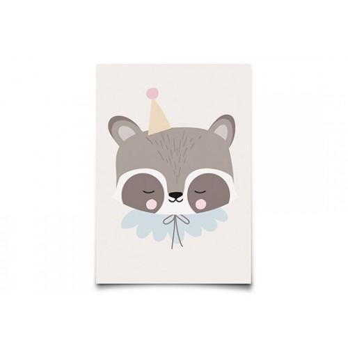 Carte Postale Circus Raccoon