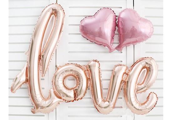 Ballon Love et 2 coeurs rose