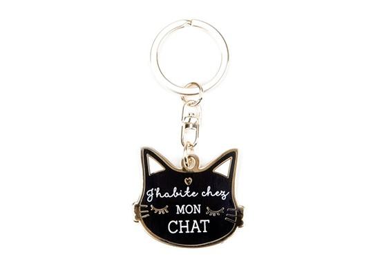 Porte-clés J'habite chez mon Chat