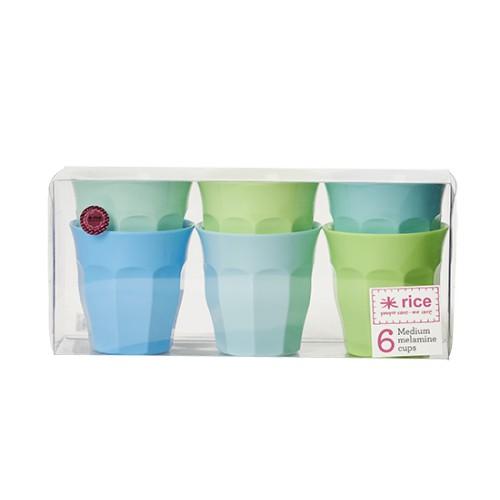 Pack de 6 gobelets medium - Bleu et Vert