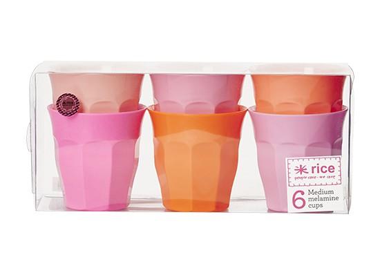 Pack de 6 gobelets medium - Rose et Orange