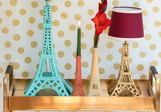 Lampe Tour Eiffel Gold et Bordeaux