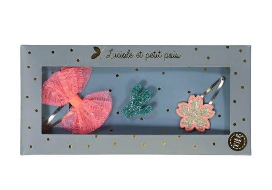 Luciole Coffret 2 Barrettes et 1 broche - Fleur rose