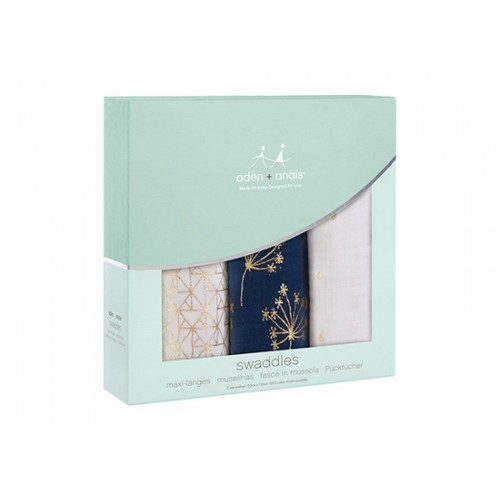 Lange L Pack 3 swaddle Metallic gold
