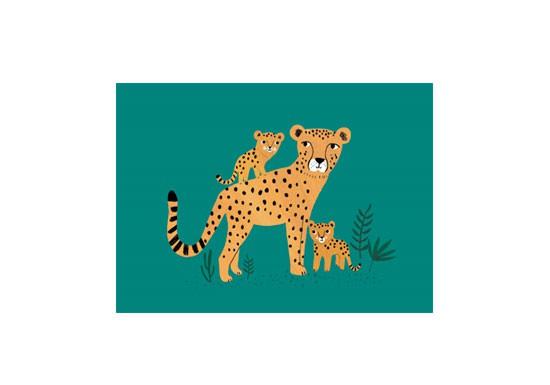 Carte postale Cheetah and cubs