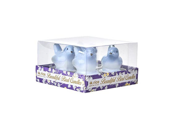 Bougie oiseaux - Lot de 4 (3 couleurs au choix)