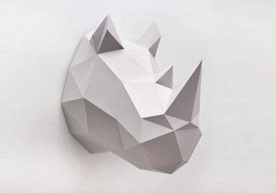 Trophée rhino gris