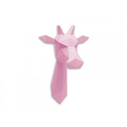 Trophée girafe rose