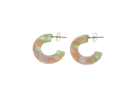 Boucles d'oreilles Thilia vert et rose