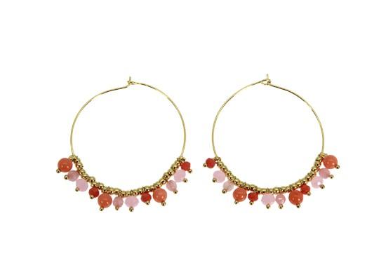 Boucles d'oreilles Camille rose