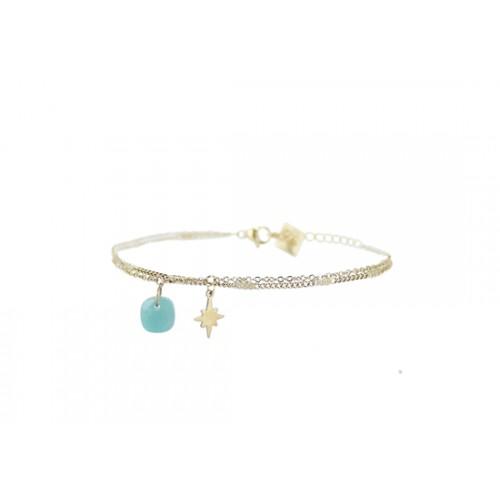 Bracelet double chaîne Star - amazonite