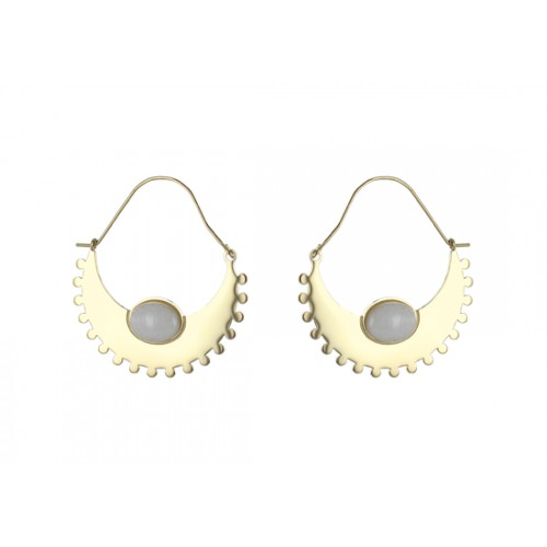 Boucles d'oreilles Mayra - agate blanche