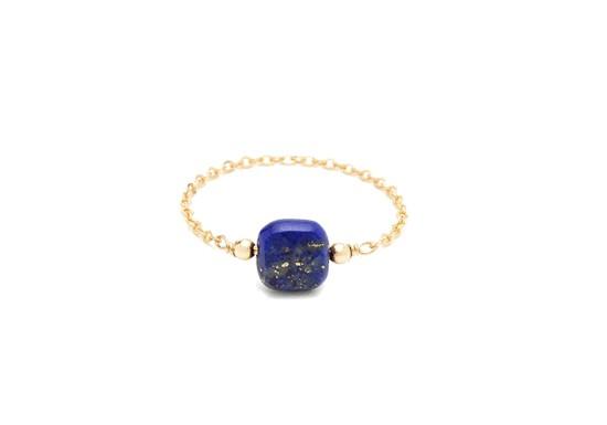 Bague chaînette Riviera carrée - lapis lazuli