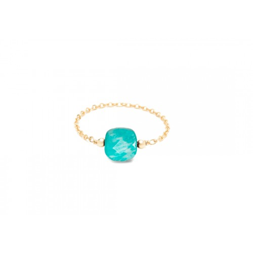 Bague chaînette Riviera carrée - chrysocolle turquoise