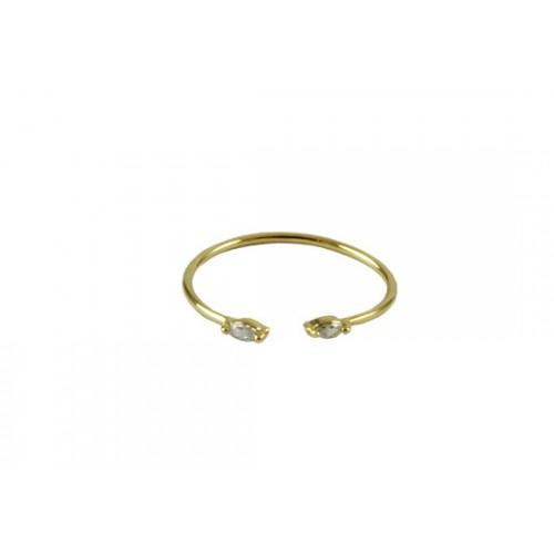 Bague Cléo ouverte blanc - Plaqué or