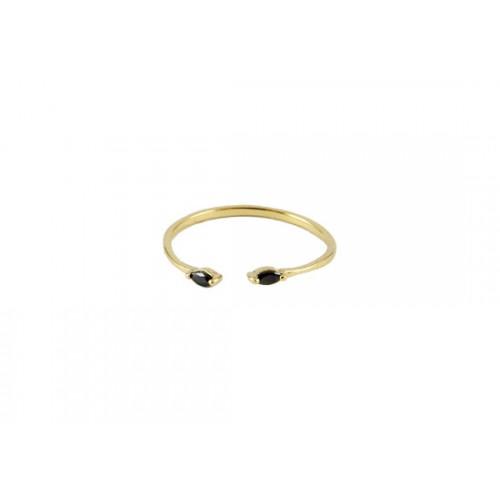 Bague Cléo ouverte noir - Plaqué or