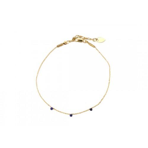 Bracelet stone bleu marine - Plaqué or