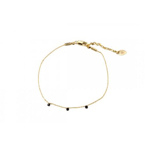 Bracelet Stone noir - Plaqué or