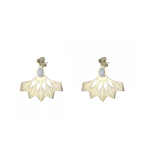 Boucles d'oreilles Adriana - agate blanche