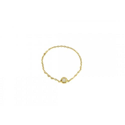 Bague Stone blanc - Plaqué or