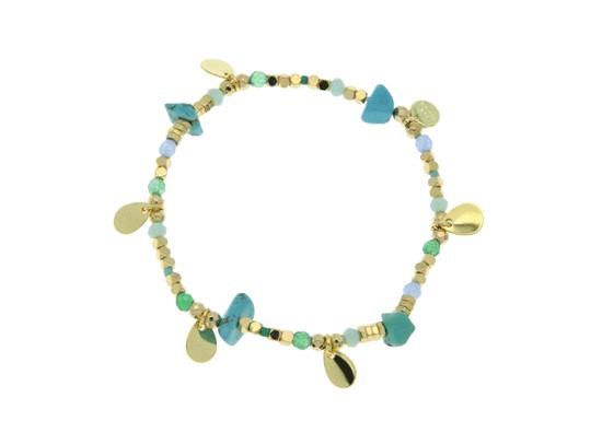 Bracelet Gaia élastique - turquoise