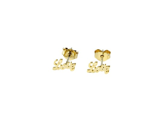 Boucles d'oreilles Love en acier doré
