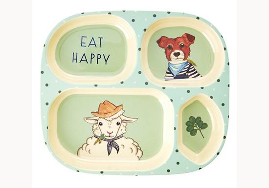 Assiette à compartiments - Les animaux de la ferme, Bleu