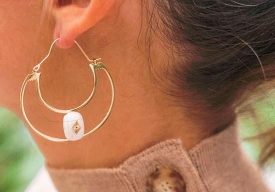Créoles Amélie - Agate blanche