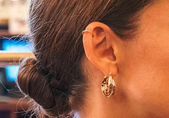 Boucles d'oreilles double créoles Rosanna