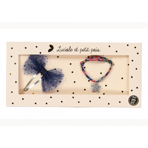 Coffret Bracelet et Barrette nœud bleu