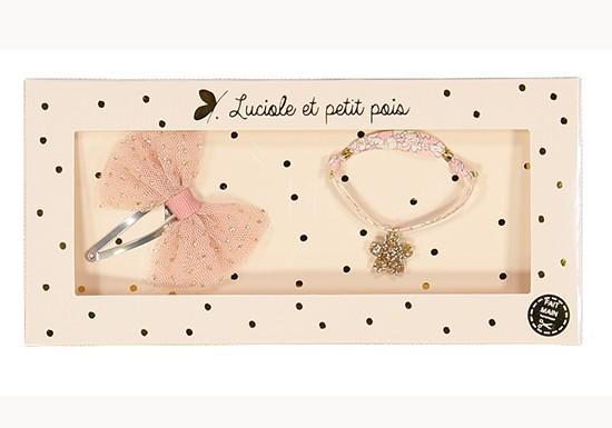 Coffret Bracelet et Barrette nœud rose