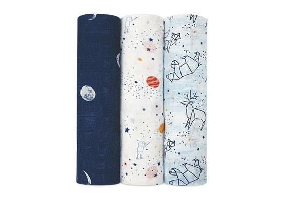 Lange L Pack 3 Silk soft swaddle - Stargaze