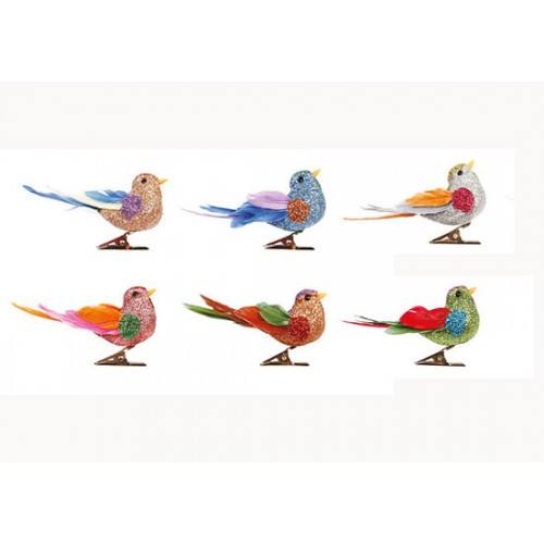 Lot 6 oiseaux sur pince