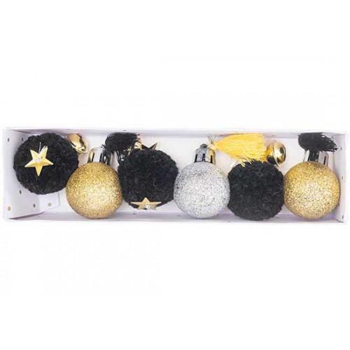 Boules de Noël pompons (3 couleurs)