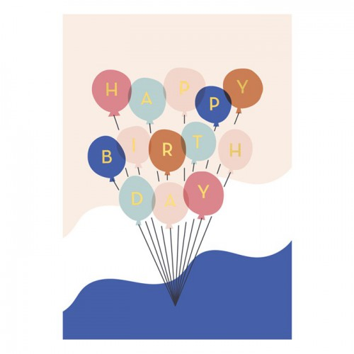 Carte Happy Birthday - Ballons