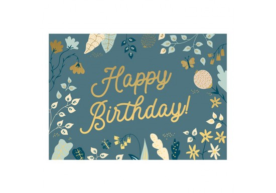 Carte Happy Birthday - Fleurs